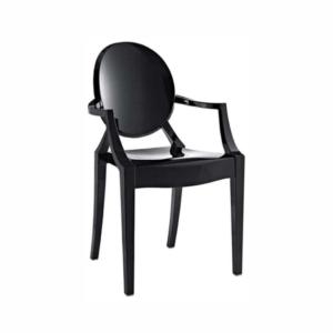 Cadeira Ghost com braço preta