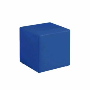 Puff unitário couro azul royal