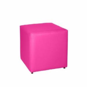 Puff unitário couro rosa