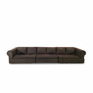 Sofá modular veludo cinza 3 lugares