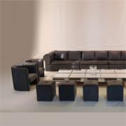 Sofá modular veludo cinza ambiente corte 2