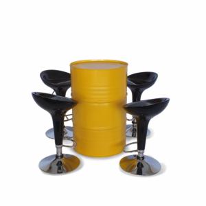 Conjunto tambor mesa amarelo e banquetas bombo