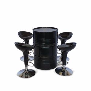 Conjunto tambor mesa preto e banquetas bombo